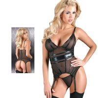 Black Powernet Suspender Basque With Matching GString